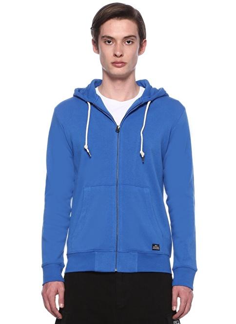 Obey Kapüşonlu Fermuarlı Sweatshirt Mavi